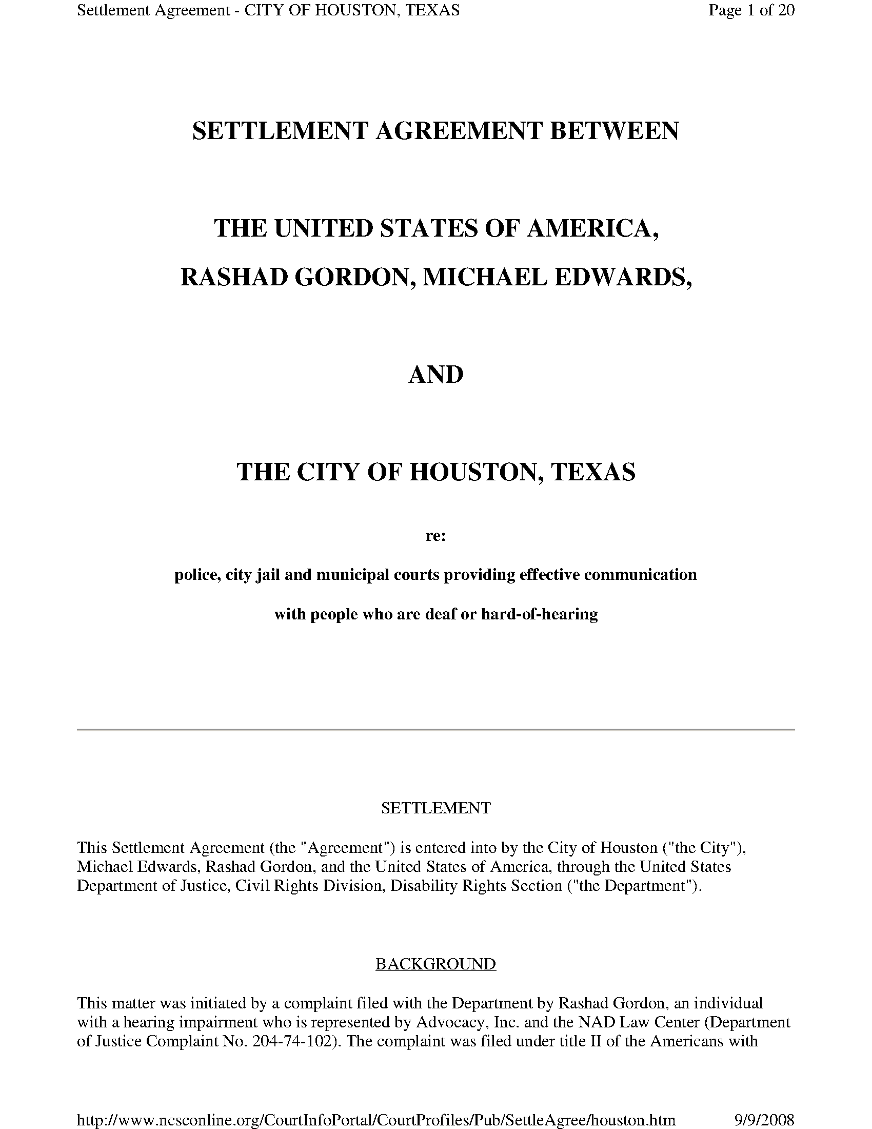Settlement Agreement Between The United States Of America Rashad