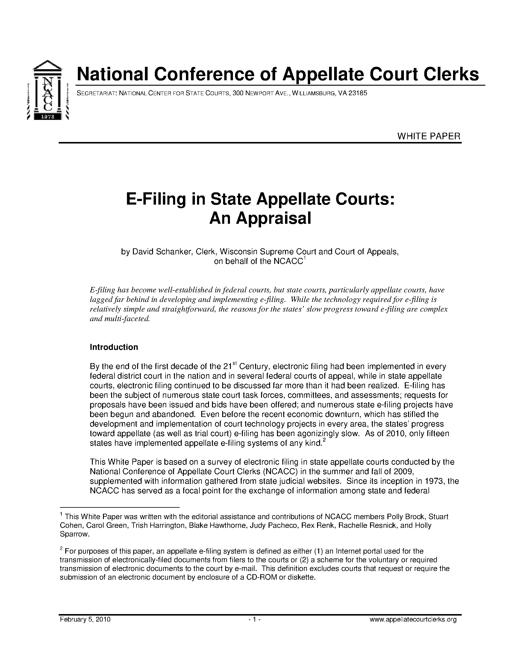 e-filing in state appellate: an appraisal (white paper) - appellate