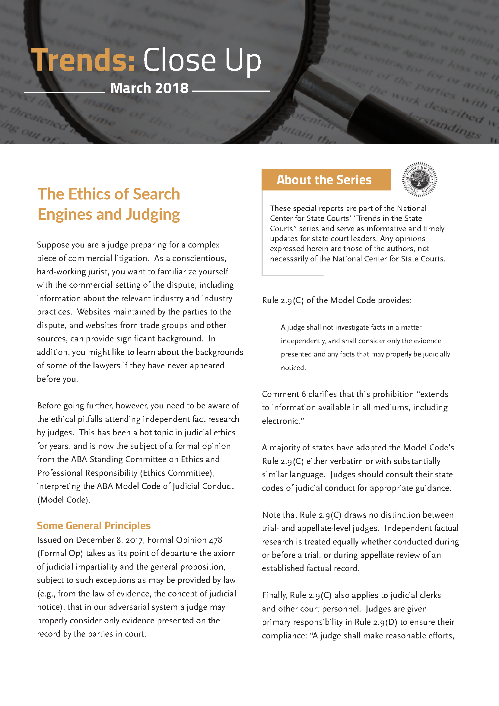 The Ethics of Search Engines and Judging - Judicial Officers